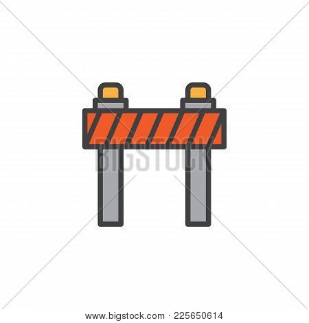 Road Barrier Filled Outline Icon, Line Vector Sign, Linear Colorful Pictogram Isolated On White. Tra