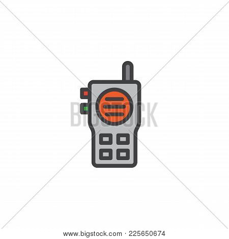 Walkie Talkie Filled Outline Icon, Line Vector Sign, Linear Colorful Pictogram Isolated On White. Ra