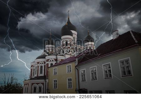 Heavy Thunderstorm With Lightning.  Alexander Nevsky Cathedral In Tallinn. Estonia. Europe