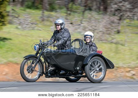 Adelaide, Australia - September 25, 2016: Vintage 1952 Bsa M33 Motorcycle With Sidecar On Country Ro