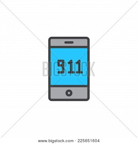 Emergency Call 911 Filled Outline Icon, Line Vector Sign, Linear Colorful Pictogram Isolated On Whit