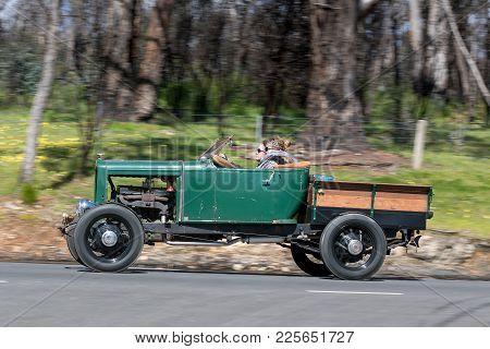 Adelaide, Australia - September 25, 2016: Vintage 1930 Chevrolet Capitol Buckboard Driving On Countr