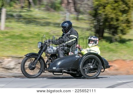 Adelaide, Australia - September 25, 2016: Vintage 1948 Bsa M21 Motorcycle With Sidecar On Country Ro