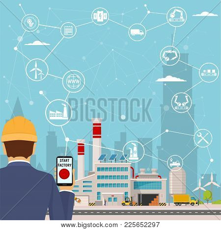 Smart Factory And Around It Icons Engineer Starting A Smart Plant. Smart Factory Or Industrial Inter