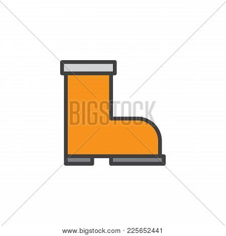 Firefighter Boots Filled Outline Icon, Line Vector Sign, Linear Colorful Pictogram Isolated On White