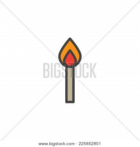 Burning Match Filled Outline Icon, Line Vector Sign, Linear Colorful Pictogram Isolated On White. Ma