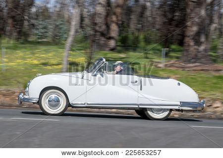 Adelaide, Australia - September 25, 2016: Vintage 1929 Desoto K Tourer Driving On Country Roads Near