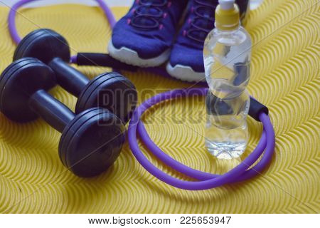 Two Plastic Dumbbells, Wristband And Bottle. Sport, Dieting And Weight Loss Concept. Set Of Hand Wei