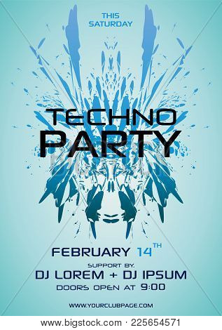 Techno Party Vector Flyer With Blue Element