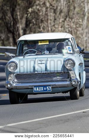 Adelaide, Australia - September 25, 2016: Vintage 1957 Vauxhall Victor Sedan Driving On Country Road
