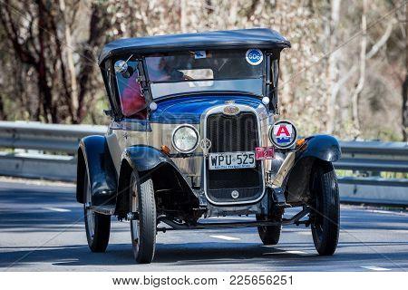 Adelaide, Australia - September 25, 2016: Vintage 1928 Chevrolet National Sports Roadster Driving On