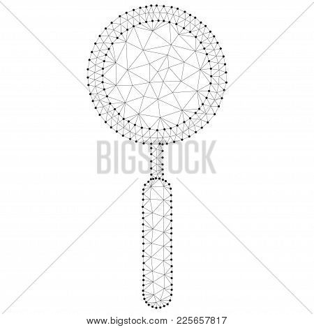 Polygonal Magnifying Glass Magnifier , Isolated On White. Business Concept. Low Poly Design. Thin Li