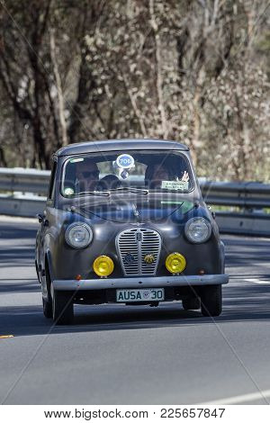 Adelaide, Australia - September 25, 2016: Vintage 1953 Austin A30 As3 Sedan Driving On Country Roads