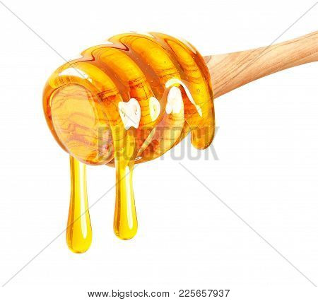 Honey Dripping Isolated On A White Background
