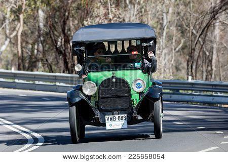 Adelaide, Australia - September 25, 2016: Vintage 1918 Dodge Brothers 30 Tourer Driving On Country R