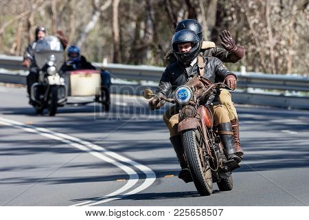 Adelaide, Australia - September 25, 2016: Vintage 1930 Harley Davidson Dl Motorcycle On Country Road