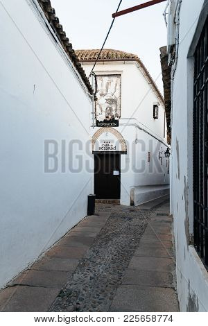 Cordoba, Spain - April 10, 2017: Old Typical Street In The Jewry Of Cordoba With White Walls