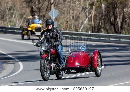 Adelaide, Australia - September 25, 2016: Vintage 1949 Bsa B33 Motorcycle With Sidecar On Country Ro