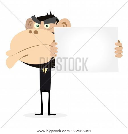 Monkey Businessman Holding A Blank Sign