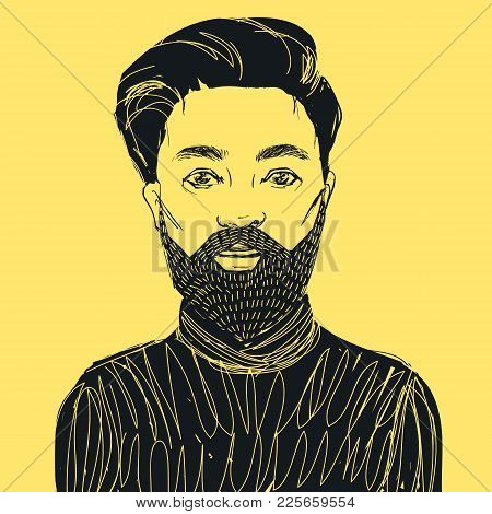 Hand Drawn Hipster Man With Beard And Mustache. Vector Illustration For Stylish Design.