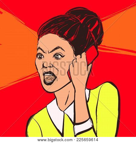 Angry Brunette Woman With Mobile Phone. Hand Drawn Vector Illustration.