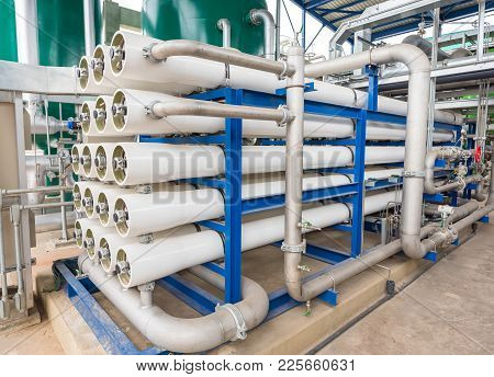 Reverse Osmosis System Equipment At Power Plant.