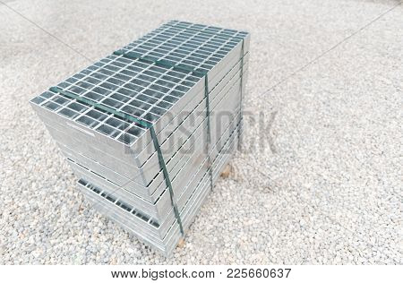 Steel Grating At Construction Site On Day.