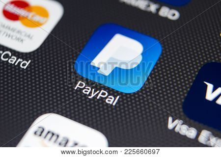 Sankt-petersburg, Russia, February 8, 2018: Paypal Application Icon On Apple Iphone 8 Smartphone Scr