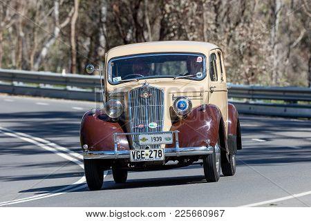Adelaide, Australia - September 25, 2016: Vintage 1939 Morris M10 Saloon Driving On Country Roads Ne