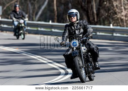 Adelaide, Australia - September 25, 2016: Vintage 1949 Bsa C11 Motorcycle On Country Roads Near The