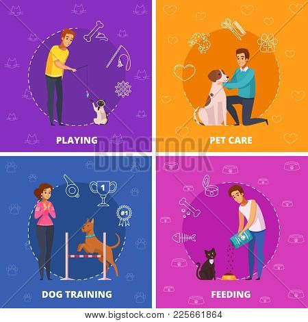 People With Pets 2x2 Design Concept With Pet Care Dog Training Playing And Feeding Square Icons Cart