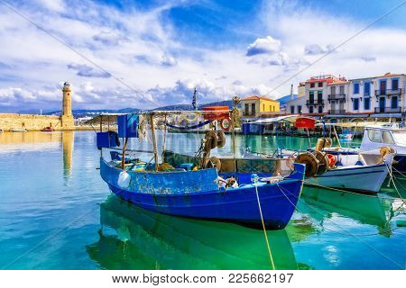 Pictorial colorful Greece series - Rethymnon with old lighthouse and fishing boats, Crete island