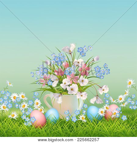 Vector Holiday Poster. Spring Landscape With A Cup Full Of Wildflowers, Eggs And Flowers In Grass
