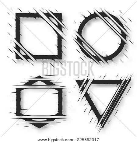 Set Of Cut Geometric Shapes. Strokes Ripped Effect. Shapes To For Rip, Slash, Damage, Torn Effects.