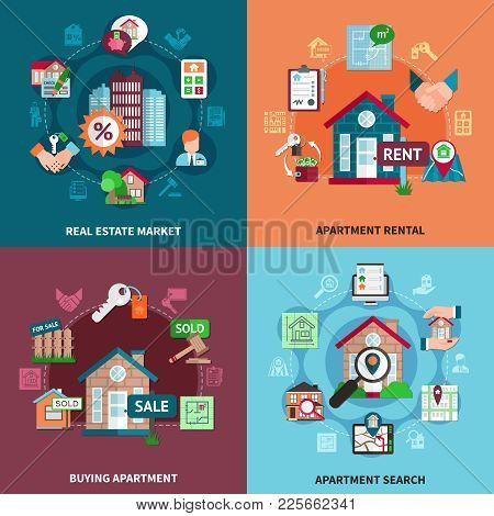 Real Estate Icon Set With Market Apartment Rental Buying Apartment And Search Descriptions Vector Il