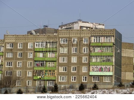 Soviet-built Multi-storey Prefabricated House. Apartment Block. Old Soviet Apartment Building
