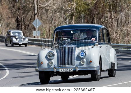 Adelaide, Australia - September 25, 2016: Vintage 1957 Armstrong Siddeley Sapphire Limousine Driving