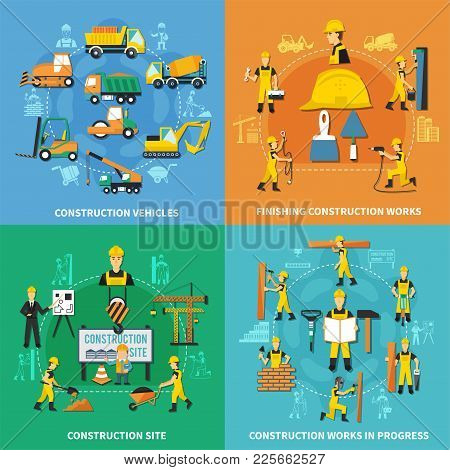 Four Squares Construction Worker Concept With Construction Vehicles Finishing Works Construction Sit