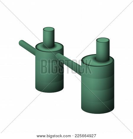 Two Green Septic Tank Vector Illustration. The System Of Sewerage And Drainage For The Cottage On A