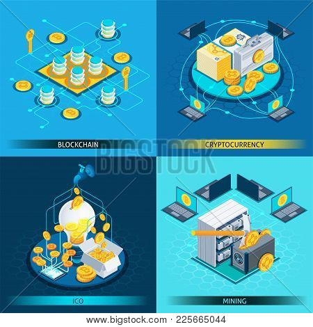 Isometric Design Concept With Cryptocurrency, Blockchain, Ico And Mining Isolated On Blue Background