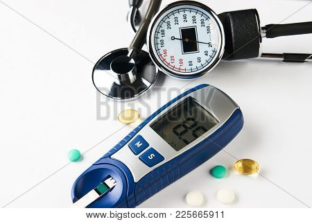 Medicine, Diabetes, Glycemia, Health Care Concept. Medical Stethoscope, Device For Measuring Blood S