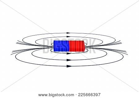 Magnet With The Magnetic Field. Education, Science, Physics Vector Illustration