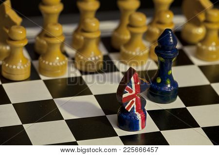 Chess Game Great Britain And The European Union Confrontation