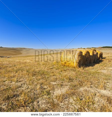 Landscape With Straw Bales On A Field In Italy. Tuscany Landscape After Harvest.
