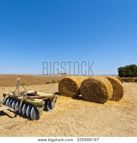 Landscape With Harrow On The Plowed Field In Italy. Hay Bales On The Plowed Hills Of Tuscany In The