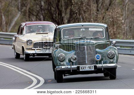 Adelaide, Australia - September 25, 2016: Vintage 1951 Armstrong Siddeley Whitley Sedan Driving On C