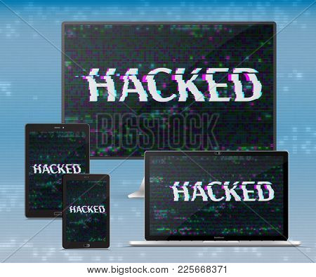 Electronic  Gadgets Set.  Hacker Attack. Cyber Crime Concept.