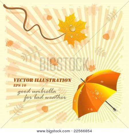 Good umbrella for bad weather, vector illustration