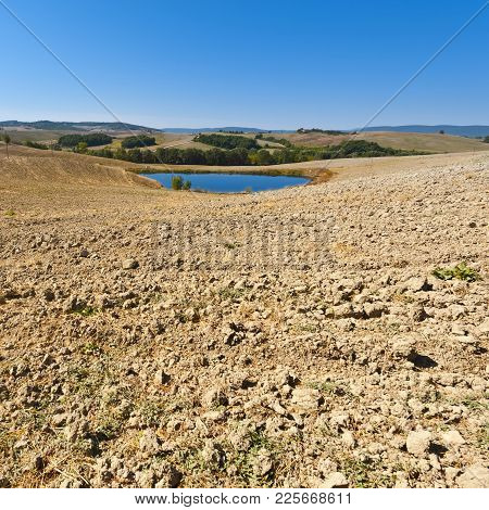 Pond For Irrigation Between Stubble Fields In Italy. Plowed Hills Of Tuscany In The Autumn. Plowed A