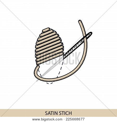 Stitches Satin Stitch Type Vector. Collection Of Thread Hand Embroidery And Sewing Stitches. Vector